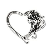 """Bendable Piercing Jewelry (16G 3/8"""") Romantic Flower Cartilage Daith Tragus Ring"""