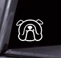 2 - Cute English Bulldog Face Outline Vinyl Decal Stickers Car Window laptop USA