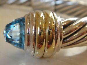 DAVID YURMAN 14K GOLD SS BLUE TOPAZ BRACELET 10mm.