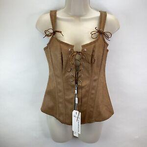 Charmian Women's Lace Up Boned Bustier Corset Brown Renaissance Size S NWT
