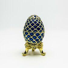 Blue small Faberge Egg Trinket Box  Handmade by Keren Kopal Austrian  Crystals