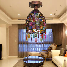 Nepal style Retro Iron Color crystal Pendant lamp Chandelier Ceiling lights +Led