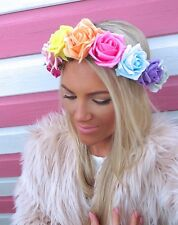 Rainbow Multi Coloured Rose Flower Crown Hair Head Band Choochie Choo Bohemian