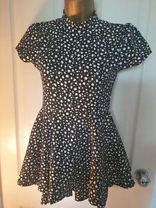 Black And White Spot Polka Dot Playsuit Size 8 zara sample NEW