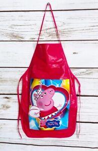 Peppa Pig Girls Pink Vinyl  Bib Apron Cooking Crafts Handmade
