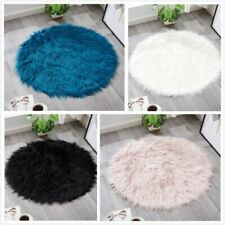 Fluffy Plush Area Rug Faux Fur Carpet Living Room Shaggy Floor Mat Soft Round