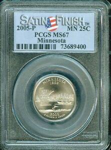 2005-P MINNESOTA STATE QUARTER SATIN FINISH 25 CENTS PCGS MS67 BU UNC COIN #N
