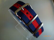 Uhrenarmband Nylon blau rot blau 20 mm NATO BAND Dornschließe Textil