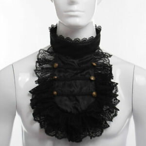 Retro Lace Ruffle Neck Detachable Collar Victorian Edwardian Men's Costume Jabot