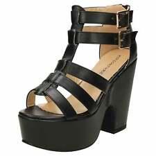 Negro Grueso Plataforma Tacón Alto Zapatos Sandalias Gladiador Con Tiras Puntera Abierta Cremallera