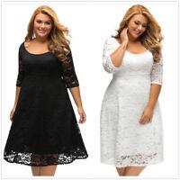 Lace Flowers Sexy A-Line Fat Women's Loose Slim Gown Shift Dress Dresses XL-3XL