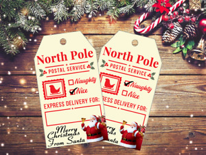 12 Christmas North Pole Express Gift Tags & Natural Jute Twine (Naughty Or Nice)