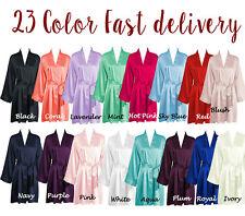 Women plain Silk Satin Robes Bridal Wedding Bridesmaid Bride robe Gown kimono
