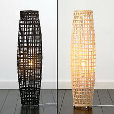 Large 90cm Curved Wicker Rattan Floor Standard Lamp Natural / Brown Wood Light