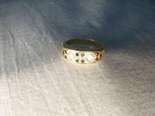 Etruscan Estate 14K Yellow Gold Diamond Emerald Ruby Sapphire Wedding Band Ring