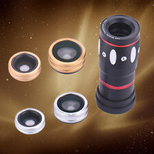 4in1 10x Zoom Telephoto Fish Eye Wide Angle+Micro Clip Lens For Iphone/Android