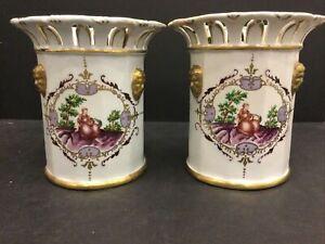 Rarest PAIR Antique 18thC Cozzi Porcelain Venice Italy Italian Reticulated Vases