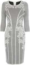 KAREN MILLEN Jacquard Lace Long Sleeve Stretch Knit Dress Size 3 Aus 6 8 10
