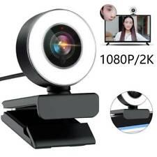 USB 2.0 Kamera HD 2K Webcam Mit Ringlicht Mikrofon für PC Laptop Computer Mac