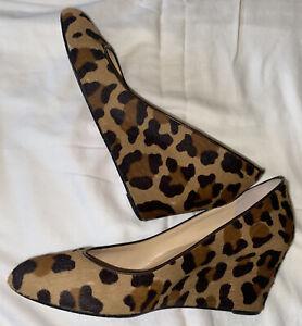 Christian Louboutin MELISA 70 Pony Hair Leopard Wedge Shoe Sandal 40