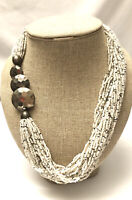 Vintage Multi-Strands Of White & Silver Seed Beads Statement Necklace Hook Clasp