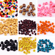 Free ship100Pcs Random Mixed Round Wood Spacer Loose Beads Charms With Dots 10mm