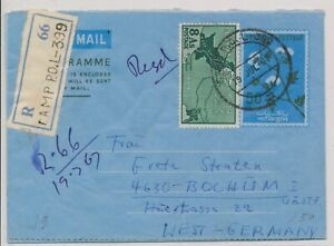 LO08170 Pakistan 1967 to Germany registered airmail cover used
