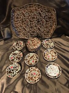Vintage Floral Beverage Tray with 8 Coasters - Maison Alcohol Proof Japan