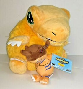 Squishable Big Agumon and Small Greymon Digimon Plushie Authentic U.S. Seller