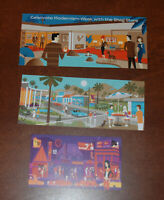 3 SHAG Josh Agle Handbills Mini Prints Art Poster Advertisements Palm Springs CA