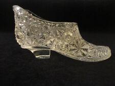 "Vintage Clear Cut Glass Shoe Figurine 3.25"""