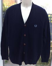 Mens Lovely Fred Perry Navy Lambswool Cardigan/Jumper 42, XLarge VGC