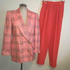 Escada 2-Piece Suit Wool & Silk Plaid Jacket 36 and Wool Coral Pants 38
