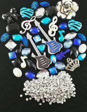 USA DIY DECO Kit Cell Phone Case Black Blue Guitar Music Treble Clef Rhinestone