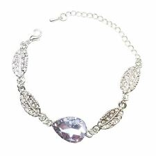 Crystal Jewellery Bracelet Silver Light Purple Stone Teardrop Leaf Christmas UK