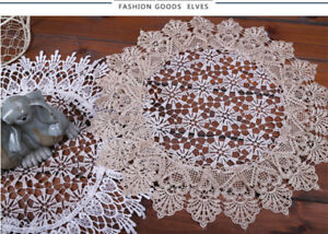 Beige Lace Doily, Lace Table Doily Table Decoration Round 38cm