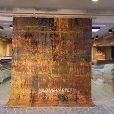 YILONG 8'x10' Handmade Wool Gold Carpet Living Room Modern Home Rug P134