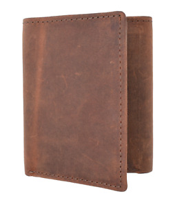 RFID Blocking Vintage Hunter Brown Tan Leather Men's Trifold Wallet Center Flap
