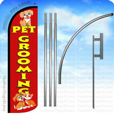 Pet Grooming - Windless Swooper Flag 15' Kit Feather Banner Sign - rq