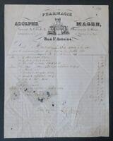 Facture 1860 PHARMACIE  MAGEN r St ANTOINE PARIS   belle entête illustrée 22