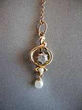 ANTIQUE LAVALIER, YELLOW GOLD, WITH ONE DIAMOND, 2 SEED PEARLS & CHAIN