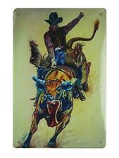 cowboy rodeo tin metal sign office shop brewery pub plaques