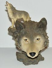 "Poly Resin Wolf head Figurine heavy 9.5"" Preowned"