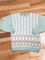 Vintage Pastel Slouch Sweater 80s 90s Preppy Sz M Cotton