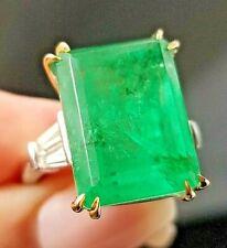 Vintage Rich Green Emerald VS Baguette Diamond 18k white/yellow gold ring