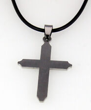 4030439 Stainless Steel Cross Necklace with black Rubber Cord Christian