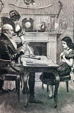 Game of Cribbage 1883 VICTORIAN CARD PLAYERS COUNTING POINTS Matted Dadd Print