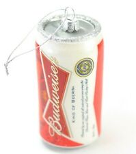 Budweiser Beer Can Glass Christmas Ornament 4.5 Inch Tall. NEW