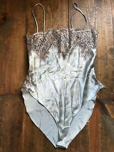 Jonquil Women's Teddy-Intimates-100% Silk-Lace-Bodysuit-Size M-Silver-Vintage