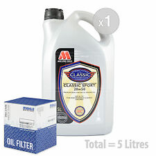 Engine Oil and Filter Service Kit 5 LITRES Millers Classic Sport 20w50 5L